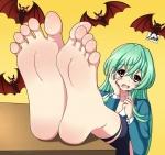 barefoot byzuko_(artist) embarrassed fangs green_hair jitsu_wa_watashi_wa pantyhose pov soles toe_spread toes torn_pantyhose vampire vampire_girl zuko_(artist)  rating:Safe score:10 user:i_hate_princess_peach