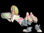 barefoot blonde_hair jinkslizard_(artist) mina paint painting pokemon ponytail shoe shoe_removal soles sun_&_moon toes  rating:Safe score:5 user:Superdes51