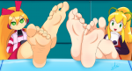 2girls arisuyoku_(artist) barefoot call megaman mighty_no_9 robot roll soles toes  rating:Questionable score:14 user:PBB