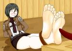 1girl attack_on_titan master417_(artist) mikasa_ackerman soles tickling toes  rating:Questionable score:3 user:nalla