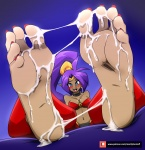 barefoot blue_eyes cum cum_on_feet feet mostlyfunstuff_(artist) nail_polish purple_hair shantae soles tan toes  rating:Explicit score:7 user:Viewtiful101