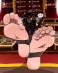 dark_skin male_feet mostlyfunstuff_(artist) stirrups text trap  rating:Questionable score:0 user:RelentlessFetishist