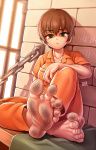 1girl barefoot blam_(artist) brown_hair dirty dirty_feet gold_eyes jail prison prisoner sitting soles sweat toes  rating:Safe score:15 user:Fun_Size