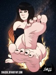 barefoot black_hair black_hole_chan feet nail_polish shazzul_(artist) soles space tease toes  rating:Questionable score:0 user:JettyBetty