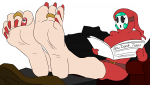 1girl attractive barefoot edited green_hair mask mostlyfunstuff_(artist) nail_polish shy_gal soles super_mario toes  rating:Questionable score:4 user:feet-sniffer