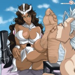 angry barefoot big_feet bleach boots boots_removed brown_hair countershade dark-skinned_female dark_skin feet female foot_fetish foot_worship green_eyes huge_breasts long_hair mila_rose muscular_female pale_soles pubic_hair rankerhen_(artist) sitting size_difference smelling soles toes toned toshiro_hitsugaya  rating:Explicit score:4 user:KaeciliusWrecks