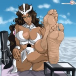 1girl barefoot big_feet bleach boots boots_removed brown_hair countershade dark-skinned_female dark_skin feet female female_only foot_fetish foot_focus footstool green_eyes huge_breasts large_breasts long_hair looking_at_viewer mila_rose muscular_female open_mouth pale_soles rankerhen_(artist) sitting soles solo suggestive toes toned  rating:Explicit score:6 user:KaeciliusWrecks