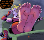 barefoot big_feet blonde boots brutalhentai_(artist) dc harley_quinn shoe_removal smell soles tagme toes  rating:Questionable score:10 user:Footloverguy9411
