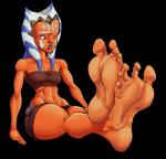 1girl ahsoka_tano barefoot blue_eyes milo_(artist) orange_skin soles star_wars wrinkles  rating:Safe score:4 user:Milo