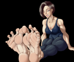 1girl barefoot big_feet blue_eyes breasts brown_hair brunette foot_focus jill_valentine milo_(artist) resident_evil sitting soles solo toes video_game  rating:Questionable score:13 user:Milo