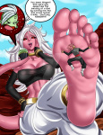 1girl android_21 attractive boner_inducing cock_throbbing dragon_ball dragon_ball_fighterz giantess long_toes naranjou_(artist) pink_feet soles stomp stuck_to_sole white_hair wrinkles  rating:Questionable score:0 user:TsunderebeanFan