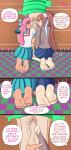2girls barefoot crossover doki_doki_literature_club feet female foot_focus giffany gravity_falls monika penis pink_hair soles toes vandiward_(artist)  rating:Explicit score:3 user:melvinbros