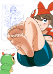 1girl barefoot blue_eyes blushing brown_hair cyberpinups_(artist) haruka haruka_(pokemon) may may_(pokemon) pokemon soles  rating:Questionable score:3 user:Ashineinyubi