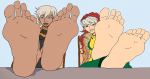 2girls anna_marie arch arches azerty47_(coloring) barefoot black blush ebony feet female marvel murati2882_(artist) ororo_monroe pov rogue smiling soles spread storm tease teasing toes x-men  rating:Questionable score:5 user:azerty47