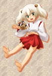 barefoot feet green_eyes kimono official_art onsen_yousei_hakone-chan soles toes twintails white_hair  rating:Questionable score:6 user:mixmariobros