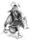 barbarian brown_hair cape character dual_wield fantasy female fur_boots hammer horn monochrome pelt peter_bradley_(artist) plumed_helmet rattail skirt  rating:Safe score:0 user:BLloyd607502