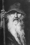 beard character facial_hair fantasy hood light_skin male monochrome norse_mythology odin_(mythology) old old_man spear white_hair  rating:Safe score:0 user:straydogfreedom