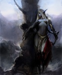 bard blonde_hair blue_skin breasts character drow elf fantasy female gauntlet greaves harp long_hair midriff pointed_ears topless tree  rating:Questionable score:0 user:urza