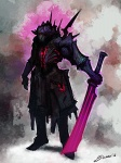 armor artist_request character fantasy glowing_weapon magic_weapon male red_eyes sword  rating:Safe score:0 user:AllanGordon