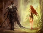 2_people armor boots brown_hair cape elf fairy fantasy greek_mythology grey_skin hades long_hair persephone_(goddess) pointy_ears sandara_(artist) two_people  rating:Safe score:0 user:AllanGordon