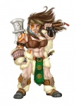 artist_request axe brown_hair character dwarf fantasy female fur midriff paint tattoo  rating:Safe score:0 user:yetanotherwriteanon