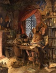 books bottle broom candle character chris_dunn_(artist) fantasy fireplace flowers glasses hay lantern male mouse night old pince_nez redwall scenery scribe scroll sleep snow  rating:Safe score:0 user:Jive_Teej