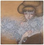 audrey_kawasaki_(artist) brown_eyes brown_hair bust character eastern fantasy female flower flowers magic portrait  rating:Safe score:0 user:hilohello