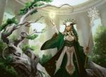 1_person artist_request card_art character cleric fantasy female green green_hair human humanoid long_hair mage magic magic_the_gathering ravnica red_eyes robes selesnya sorcerer staff tagmemore wizard  rating:Safe score:0 user:DonQuixote