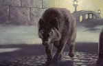 animal black_hair bridge canine card_art familiar fantasy fog kev_walker_(artist) magic_the_gathering ravnica selesnya tail watchwolf wolf  rating:Safe score:0 user:DonQuixote