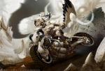 black_hair character dark_skin female midriff modern_fantasy motorcycle nikolay_yeliseyev_(artist) post_apocalyptic skimpy skull sword two-tone_hair white_hair  rating:Safe score:0 user:Nosighter