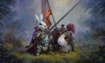 animal animal_companion anthro armor artist_request banner character crested_helmet fantasy grass guinea_pig knight lance mount nature rabbit saddle  rating:Safe score:0 user:hilohello