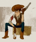 artist_request blood brown_hair character cigarette crate gun gunslinger injury male revolver sitting toy_story western wild_west woody wounded  rating:Safe score:0 user:EmptyEternity