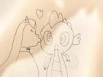 artist:undeadponysoldier canon_x_oc crack_shipping earth_pony female kiss_on_the_cheek kiss_on_the_cheeks kissing oc:klavinova pony safe shipping spike spikenova straight  rating:Safe score:1 user:harmony