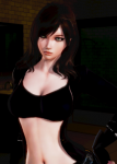brown_hair card crop_top curvy female gloves green_eyes honey_select large_breasts long_hair mole original top_rated  rating:Safe score:45 user:Flare