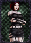 black_lipstick choker curvaceous curvy emo female garter garters goth gothic honey_select_unlimited lipstick mods oc pale_skin red_eyes red_hair tagme thicc  rating:Questionable score:2 user:New_Guy_25