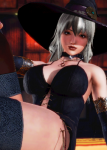 brown_eyes card choker dress female honey_select necklace original see-through stockings white_or_silver_hair witch  rating:Safe score:4 user:illusioncards