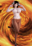 baron_of_tits black_hair buffscale card demon doom female goat honey_select hooves horns large_breasts succubus  rating:Questionable score:3 user:Buffscale
