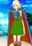 armor blonde_hair cape card deedlit elf female green_eyes koikatsu non-human pointed_ears record_of_lodoss_war simple sword  rating:Safe score:-3 user:Chargin_Chuck