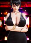 large_breasts black_hair dress high_heels milf  rating:Questionable score:7 user:fireball141