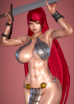 abs bikini_armor card character_card honey_select large_breasts large_card_mod muscular red_eyes red_hair red_sonja snowflaked wide_slider_mod  rating:Safe score:9 user:Omegamagnum