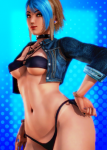 abs blue_hair brown_hair curvy fakku fan_character honey_select_unlimited micaela mrpotatoparty punk swimsuit tan_lines tanned tanned_skinned toned wide_hips  rating:Questionable score:1 user:New_Guy_25