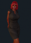 ai_girl ai_shoujo dark_skin dress elf female green_eyes large_breasts original red_hair  rating:Safe score:0 user:agws