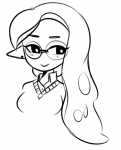 badguyvivi female inkling looking_at_viewer monochrome professor_woomy simple_background smile vivi white_background woomy  rating:Safe score:2 user:notebook