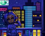 building city eyes_closed headphones hoodie mk night octoling pixel_art stars  rating:Safe score:0 user:EmKay