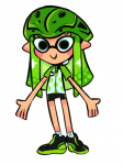 bike_helmet clothes clothing female green_eyes green_hair inkling shoes shorts simple_background white_background woomy zoomy_woomy  rating:Safe score:0 user:notebook