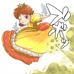 ass blue_eyes blush brown_hair dress fart from_behind green_gas looking_at_viewer looking_back nintendo one_eye_closed princess princess_daisy super_mario_bros_(series) syoyukoto462_(artist)  rating:Safe score:2 user:Indricothere