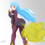1_girl ass blue_hair bodysuit fart from_behind green_gas king_of_fighters kof kula_diamond looking_back red_eyes repulsiveprecursor_(artist) snk solo standing  rating:Safe score:2 user:TheGreatIron