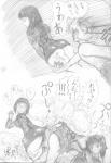 2-on-1 2_girls blush facefart fart femdom manga monochrome panties sadism sbd_(artist) translated twintails upskirt  rating:Questionable score:12 user:Indricothere