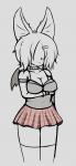 /monster/ 1girl bat_girl breasts choker cleavage crop monster_girl skirt thigh_high_socks wings  rating:Safe score:0 user:dust