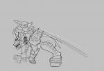 1boy armor artist:leia end_game_was_taken helmet lamorak pose sharp_teeth sketch sword  rating:Safe score:0 user:ourobooru